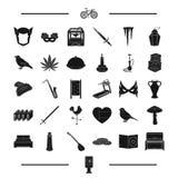 El tiempo, el arma, la impresión y el otro icono del web en estilo negro instrumento, iconos del teatro en la colección del siste Fotos de archivo libres de regalías