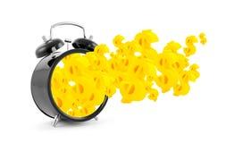 El tiempo es oro. Despertador con símbolos del dólar Fotografía de archivo libre de regalías