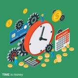 El tiempo es oro, gestión de tiempo, concepto del vector de la planificación de empresas Fotos de archivo