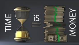 El tiempo es oro paquetes de dólares Foto de archivo libre de regalías