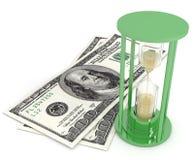 El tiempo es oro vidrios y dólares de la arena Imagenes de archivo