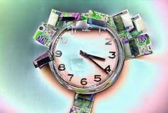 El tiempo está corriendo hacia fuera para comprar los presentes pasados, con el dinero restante stock de ilustración