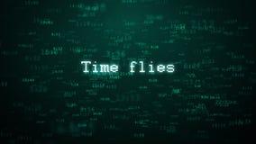 El tiempo vuela tipografía Subida al azar de las partículas del fondo de Internet del tiempo stock de ilustración