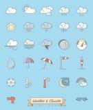 El tiempo y la meteorología llenaron la línea iconos fijados ilustración del vector