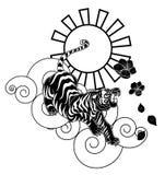 El tigre con la flor y el tatuaje japonés de la nube diseñan vector Fotografía de archivo