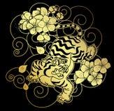 El tigre con la flor y el tatuaje japonés de la nube diseñan vector Imágenes de archivo libres de regalías