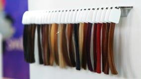El tinte de pelo trenza el aparador del pelo de las muestras metrajes