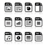 El tipo de fichero iconos del negro con la sombra fijó - el cierre relámpago, pdf, Imagen de archivo