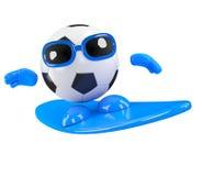 el tipo del fútbol 3d va a practicar surf libre illustration