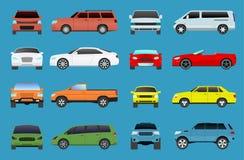 El tipo iconos del coche de los objetos del vehículo del modelo de vector fijó el supercar multicolor del automóvil El coche del  Imagen de archivo libre de regalías