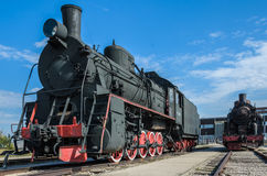 El tipo locomotor Eh2 del ER del motor de vapor builded en Voroshilovgrad, Brjanksk, 305 unidades 1934-1936, exhibidas en el Avto Fotos de archivo libres de regalías