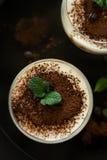 El tiramisu italiano tradicional del postre adornó el cacao, los granos de café y las hojas de menta Imágenes de archivo libres de regalías