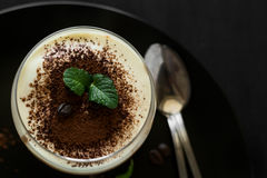 El tiramisu italiano tradicional del postre adornó el cacao, los granos de café y las hojas de menta Fotos de archivo libres de regalías