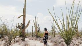 El tiro ancho épico de la cámara lenta, mujer turística feliz joven camina entre campo grande del cactus del Saguaro en desierto  almacen de metraje de vídeo
