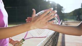 El tiro ascendente cercano de la sacudida femenina de los jugadores de tenis entrega la red de la pista de tenis almacen de video