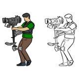 El tiro constante del portador lucha el sket del ejemplo del vector de la sacudida de cámara ilustración del vector