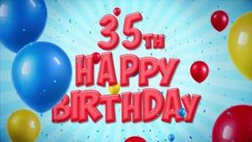 el 35to saludo rojo y los deseos del feliz cumpleaños con los globos, confeti colocaron el movimiento ilustración del vector