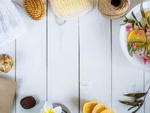El toallita de la toalla del cepillo del limón del baño de los accesorios del balneario florece en los bordes de la foto en un es Fotos de archivo libres de regalías
