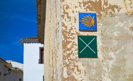El Toboso don Quijote track sign Saint James. El Toboso don Quijote track sign and Saint James Way in Toledo Spain royalty free stock photography