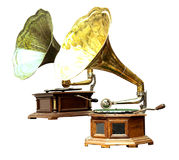 El tocadiscos y el gramófono viejos Fotos de archivo libres de regalías