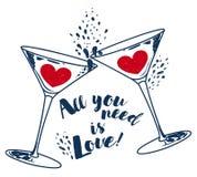El ` todo lo que usted necesita es cartel del ` del amor y del vino con dos copas de vino y corazones Imagenes de archivo