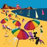 El tomar el sol durante verano en la playa libre illustration