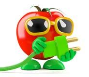 el tomate 3d utiliza energía verde Fotos de archivo