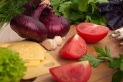 El tomate fresco con chieves, cebolla y ensalada Fotografía de archivo libre de regalías