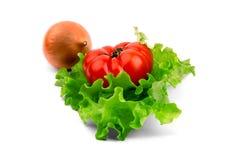El tomate y la cebolla mienten en una hoja de la ensalada Imagen de archivo