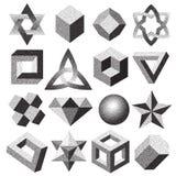 El tono medio punteado punteó la figura geométrica lazo de punteado del nudo del toro del infinito de las formas de la ilusión 3d Imagen de archivo libre de regalías