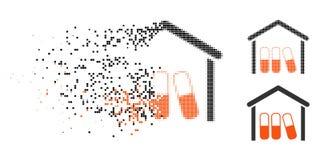El tono medio quebrado de Pixelated droga el icono del garaje ilustración del vector