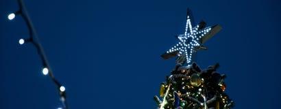 El top del árbol de navidad, contra la perspectiva del cielo nocturno, Año Nuevo del humor de los días de fiesta ligeros festivos fotos de archivo libres de regalías