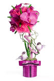 El topiary floral con dos pájaros fotos de archivo libres de regalías