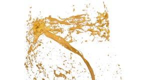 El torbellino del líquido amarillo le gusta la pintura del coche en el fondo blanco La pintura coloreada hermosa está girando Tra stock de ilustración