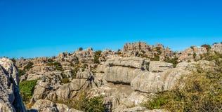 EL Torcal Antequera - άποψη στο σχηματισμό βράχου, Ισπανία Στοκ φωτογραφία με δικαίωμα ελεύθερης χρήσης