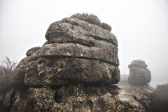 EL Torcal de Antequera στην ομίχλη, Μάλαγα, Ισπανία Στοκ Φωτογραφίες