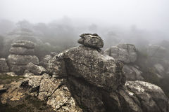 EL Torcal de Antequera στην ομίχλη, Μάλαγα, Ισπανία Στοκ εικόνες με δικαίωμα ελεύθερης χρήσης