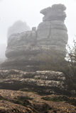 EL Torcal de Antequera στην ομίχλη, Μάλαγα, Ισπανία Στοκ φωτογραφία με δικαίωμα ελεύθερης χρήσης