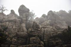 EL Torcal de Antequera στην ομίχλη, Μάλαγα, Ισπανία Στοκ εικόνα με δικαίωμα ελεύθερης χρήσης