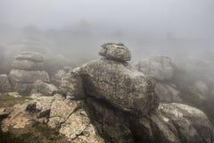 EL Torcal de Antequera στην πυκνή ομίχλη, Μάλαγα, Ισπανία Στοκ Εικόνες