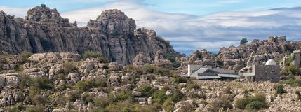 Wide angle view, Jurassic rock formations, El Torcal, Antequera, Spain. stock images
