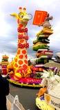 El torneo 2017 de Pasadena, California de rosas desfila ratón del ` del flotador que enseña a la jirafa corta de vista a leer el  Fotografía de archivo libre de regalías