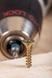 El tornillo de metal atornilló en un tablero de madera Imagenes de archivo
