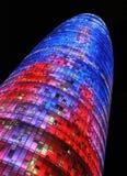 El Torre Agbar el 5 de enero de 2010 en Barcelona, España Está una torre cerca a las glorias Catalanes, que marca la entrada al n Fotos de archivo libres de regalías