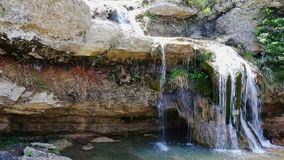 El Torrent de la Cabana small mountain stream with crystal clear water stock footage