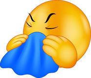 El toser sonriente del Emoticon de la historieta stock de ilustración