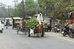 El tráfico normal del caos de la India Fotos de archivo