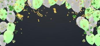 El trébol del ejemplo de los globos del partido sale del fondo transparente adornado del día de St Patrick Diseño del cartel o de libre illustration