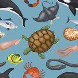 El trópico acuático marino de la fauna tropical del carácter del ejemplo de los animales de mar pesca el fondo sealess del vector Imagen de archivo