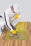El trabajador aplica el pegamento del azulejo Fotos de archivo libres de regalías